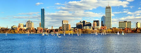 boston skyline: Skyline of Back Bay Boston, Massachusetts Stock Photo