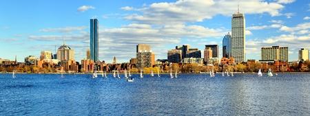 skylines: Skyline of Back Bay Boston, Massachusetts Stock Photo