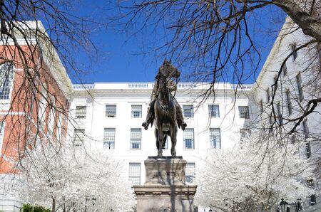 hooker: Joseph Hooker Statue at the Massachusetts State House in Boston, Massachusetts. Stock Photo