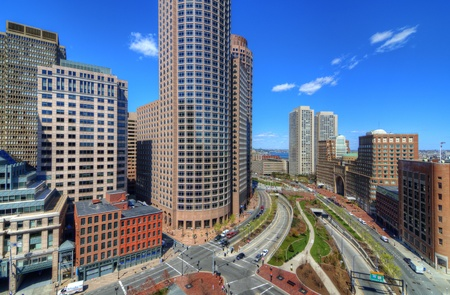 High rises along Atlantic Ave. in the financial district of Boston, Massachusetts. Stock Photo - 13159430
