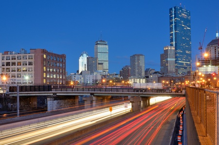 turnpike: Downtown Boston, Massachusetts viewed from above Massachusetts Turnpike. Stock Photo