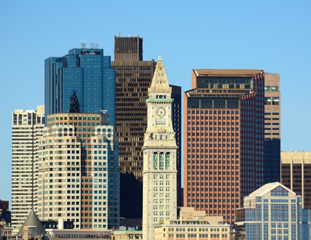 ma: Financial District of Boston, Massachusetts viewed from Boston Harbor.