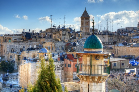 ancient israel: View of minarets and towers along the skyline of the Old City of Jerusalem, Israel. Stock Photo
