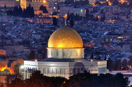 domes: Dome of the Rock along the Skyline of Jerusalem, Israel.