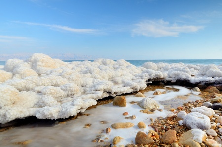 Salt formations in the Dead sea of Israel. photo