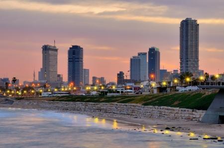 텔 아비브, 이스라엘을 향해 지중해 바다에서. 스톡 콘텐츠