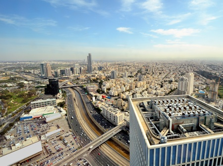 Aerial skyline of Tel Aviv, Israel. photo