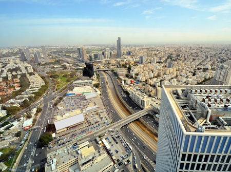 ramat aviv: Aerial skyline of Tel Aviv, Israel.