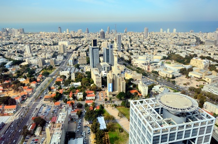 tel aviv: Aerial skyline of Tel Aviv, Israel.