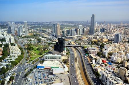 expressway: Aerial skyline of Tel Aviv, Israel.
