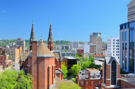 alabama: Cathdral of St. Paul amongst the skyline of downtown Birmingham, Alabama, USA. Stock Photo