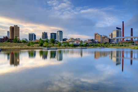 birmingham: Skyline of Birmingham, Alabama from Railroad Park. Stock Photo