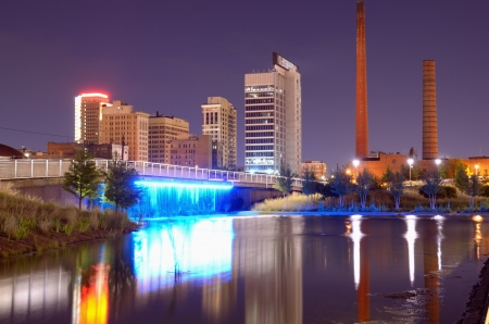 alabama: Skyline of Birmingham, Alabama from Railroad Park. Stock Photo
