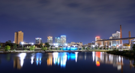 Skyline of Birmingham, Alabama from Railroad Park. Stock Photo