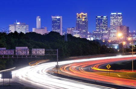 turnpike: Skyline of Birmingham, Alabama from above Interstate 65.