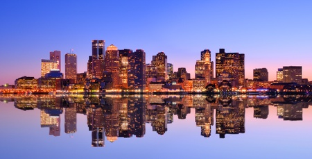 viewed: Financial District of Boston, Massachusetts viewed across from Boston Harbor. Stock Photo