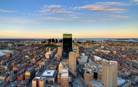 sightseeng: aerial view of downtown boston from back bay