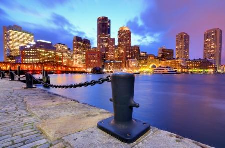 boston skyline: Boston Harbor Skyline Stock Photo