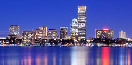 boston skyline: Skyline of landmark high rises in Back Bay, Boston, Massachusetts