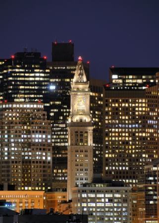colonade: Financial District of Boston, Massachusetts with the prominent Custom House Tower. Stock Photo