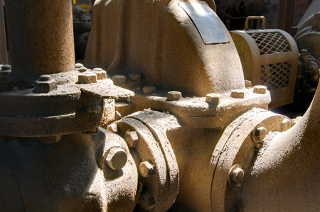 ironworks: old machinery parts in a mill Stock Photo