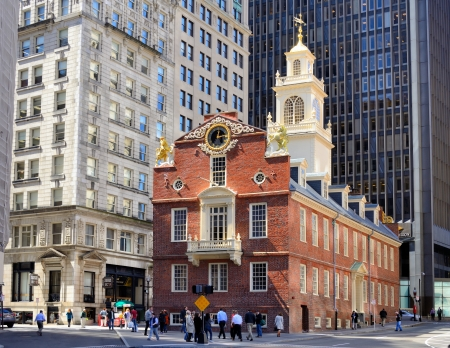 ma: BOSTON - APRIL 4: Old State House April 4, 2012 in Boston, MA. Built in 1713, it is the oldest surviving public building in Boston and now serves as a history museum. Editorial