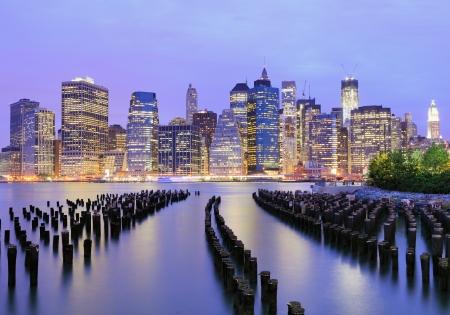 wall street: Lower Manhattan at night in New York City