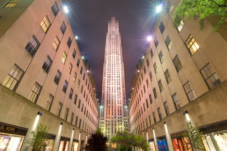 declared: NEW YORK CITY - MAY 15: Rockefeller Center May 15, 2012 in New York, NY. Built in 1939 by the Rockefeller Family, the 19 building complex was declared a National Historic Landmark in 1987.