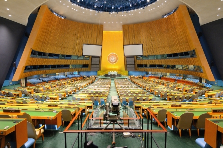 NEW YORK CITY - MAY 21: The United Nations General Assembly May 21, 2012 in New York, NY. It is the only organ of the U.N. in which all member nations have equal representation. Stock Photo - 13795351