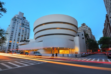 frank: New York City, USA - May 12, 2012: The Guggenheim Museum on 5th Ave was established in 1937, though the current museum building dates from 1959 and was designed by famed architect Frank Lloyd Wright.