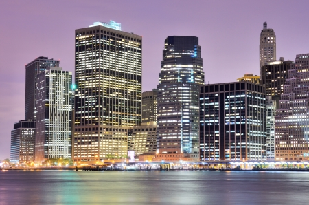 Lower Manhattan at night in New York City photo