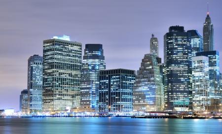 Lower Manhattan at night in New York City photo