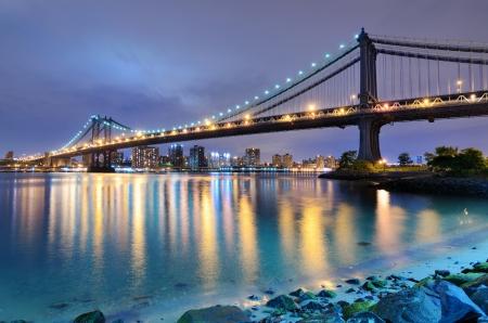 Manhattan Bridge spanning the East River towards Manhattan in New York City. 写真素材