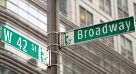 42nd: Street signs for Broadway and 42nd street in New York City