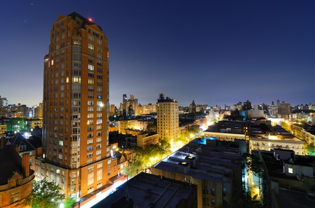 skyline of residential buildings in the Upper West Side of Manhattan at night Stock Photo - 13839384