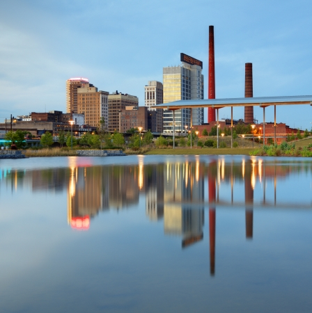 alabama: Birmingham Alabama Skyline from Railroad Park Lake