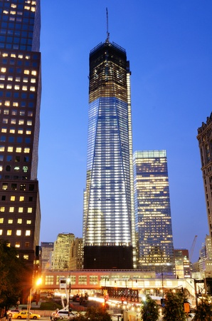 NEW YORK CITY MAY 16, 2012: Construction of One World Trade Center May 16, 2012 in New York, NY. Building costs rose to $3.8 billion in January, making it the most expensive building in the world.