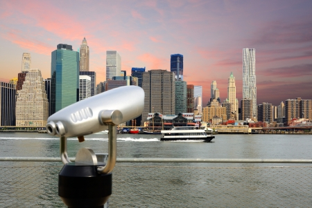 binoculars in Brooklyn for viewing the downtown Manhattan skyline photo