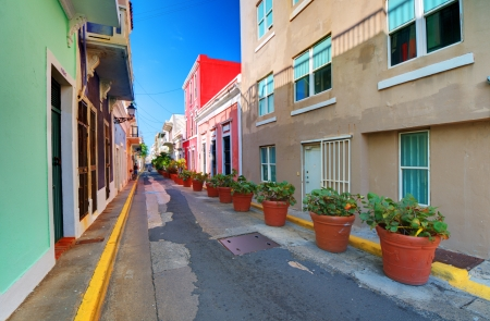 city alley: Alley in the old city of San Juan, Puerto Rico.