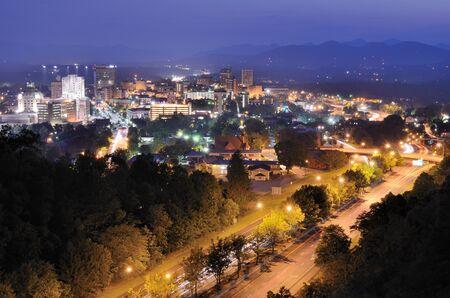 asheville: Asheville, North Carolina skyline nestled in the Blue Ridge Mountains. Editorial