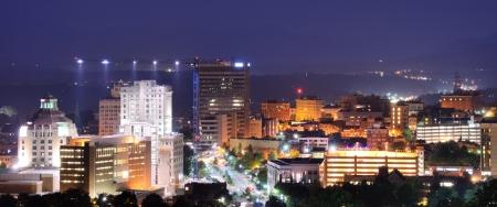 asheville: Asheville, North Carolina skyline nestled in the Blue Ridge Mountains. Stock Photo