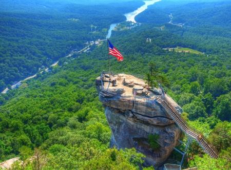Blue Ridge Mountains: Chimney Rock at Chimney Rock State Park in North Carolina, USA. Stock Photo