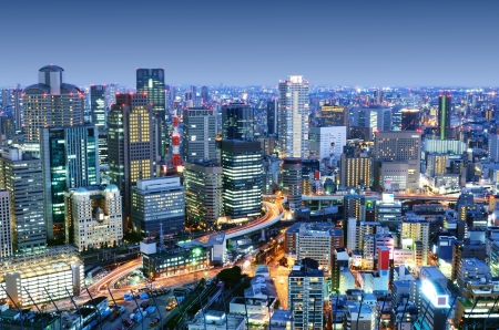 futuristic city: Dense skyline of Umeda District, Osaka, Japan Stock Photo