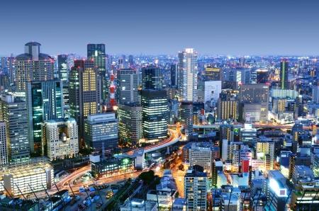 Dichte skyline van Umeda District, Osaka, Japan Stockfoto