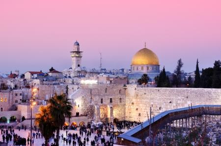 C�pula de la Roca y el Muro de los Lamentos en Jerusal�n, Israel