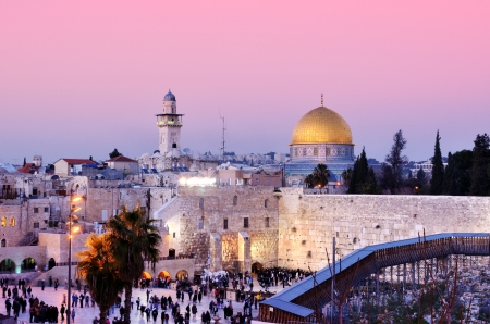 Dome of the Rock and Western Wall in Jerusalem, Israel photo