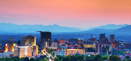 Asheville, North Carolina skyline nestled in the Blue Ridge Mountains. photo