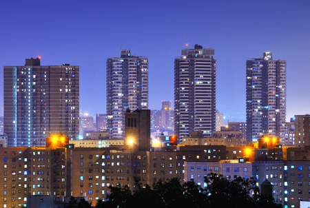 Apartment high rises in uptown Manhattan neighborhood of Harlem. Stock Photo - 14397570