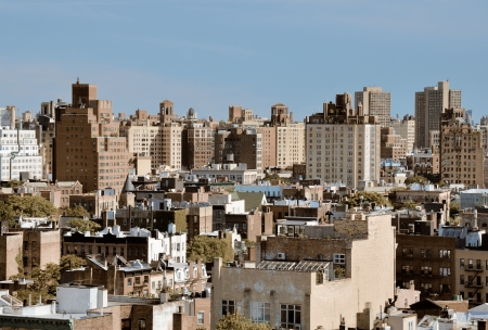 high rises: Urban scene of high rises in Lower Manhattan viewed from a Chelsea rooftop Stock Photo