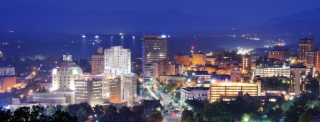 Asheville, North Carolina skyline nestled in the Blue Ridge Mountains  Stock Photo - 14397598
